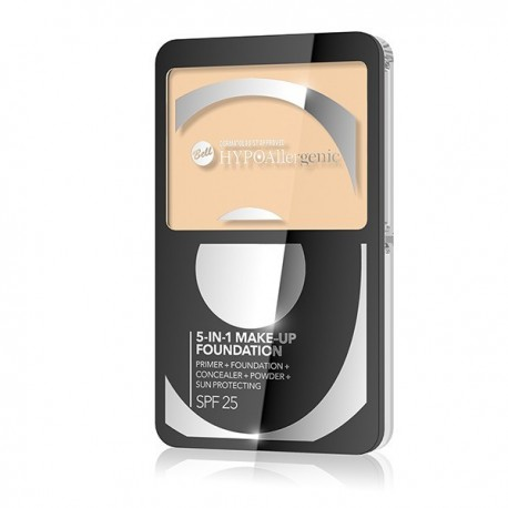 HYPO Base de maquillaje SPF25 hipoalergénica Cream Matte 5 en 1 - Color : 01.NATURAL