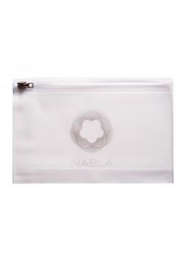 Makeup Bag - opal plastic with zipper 20,5 cm x 13,5 cm